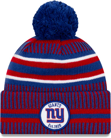 NY Giants New Era NFL On Field 2019 Sport Knit Home Bobble Hat