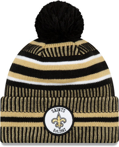 New Orleans Saints New Era NFL On Field 2019 Sport Knit Home Bobble Hat
