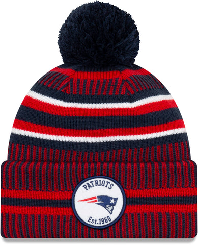 New England Patriots New Era NFL On Field 2019 Sport Knit Home Bobble Hat