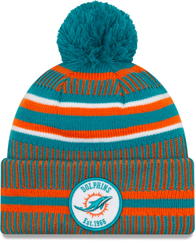 Miami Dolphins New Era NFL On Field 2019 Sport Knit Home Bobble Hat