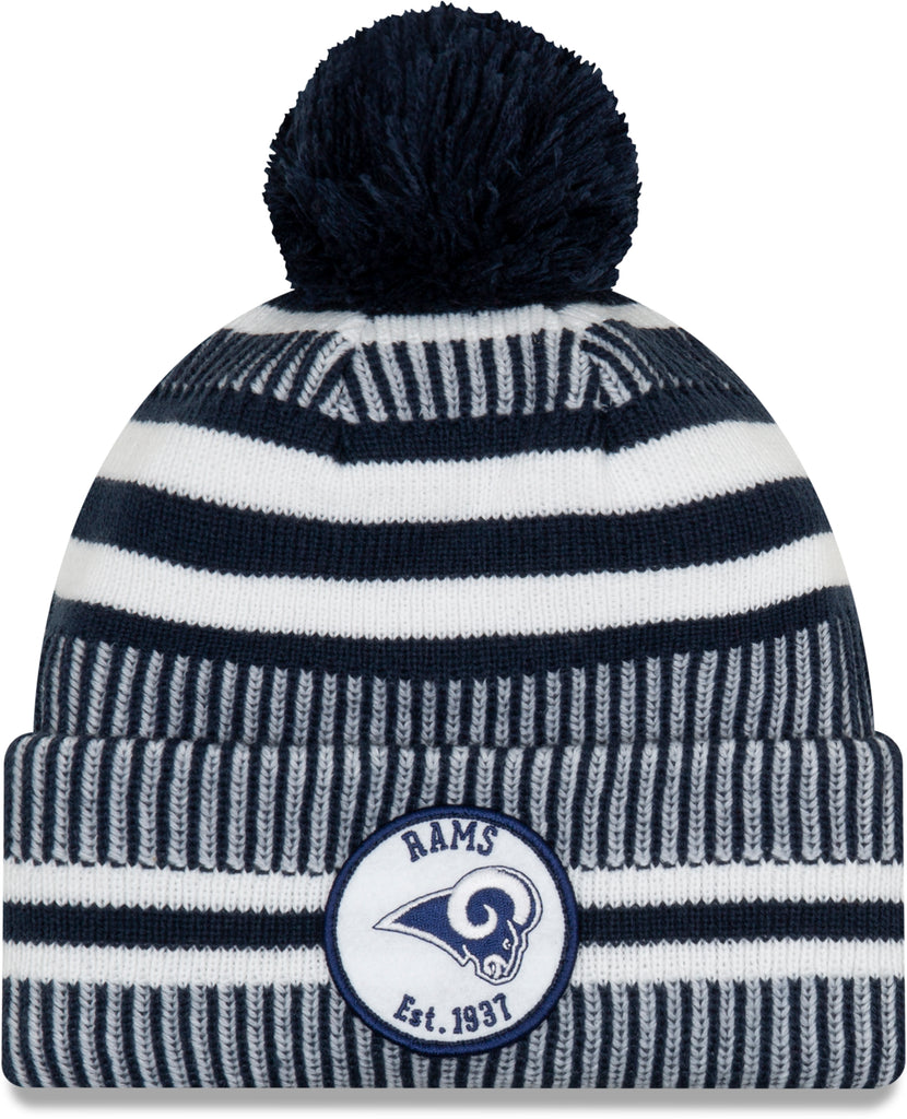 Los Angeles Rams New Era NFL On Field 2019 Sport Knit Home Bobble Hat