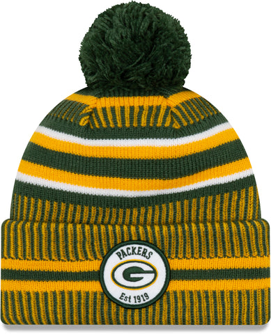 Green Bay Packers New Era NFL On Field 2019 Sport Knit Home Bobble Hat