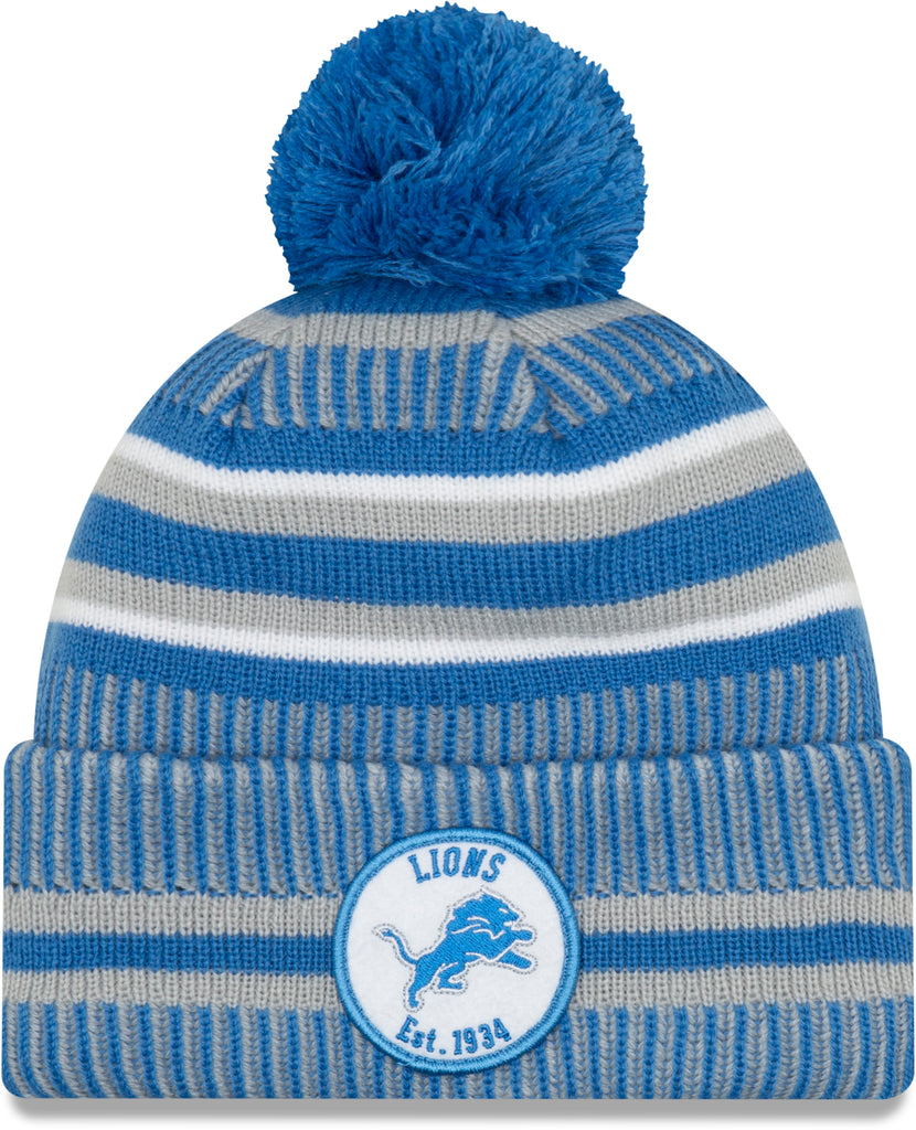 Detroit Lions New Era NFL On Field 2019 Sport Knit Home Bobble Hat - pumpheadgear, baseball caps