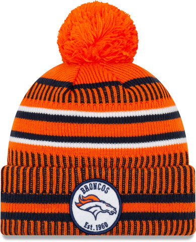 Denver Broncos New Era NFL On Field 2019 Sport Knit Home Bobble Hat - pumpheadgear, baseball caps
