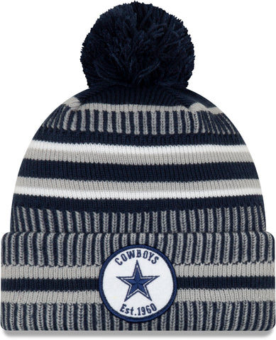 Dallas Cowboys New Era NFL On Field 2019 Sport Knit Home Bobble Hat - pumpheadgear, baseball caps