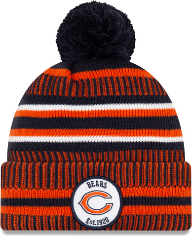 Chicago Bears New Era NFL On Field 2019 Sport Knit Home Bobble Hat - pumpheadgear, baseball caps