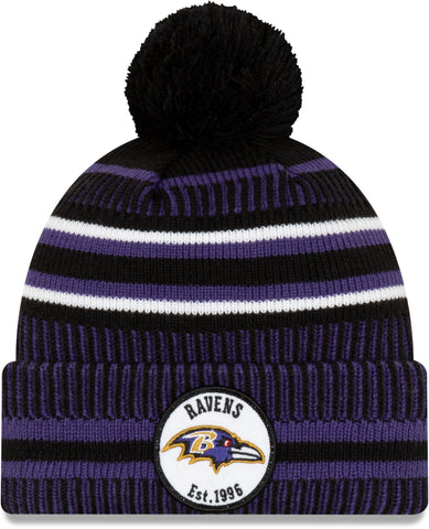 Baltimore Ravens New Era NFL On Field 2019 Sport Knit Home Bobble Hat - pumpheadgear, baseball caps