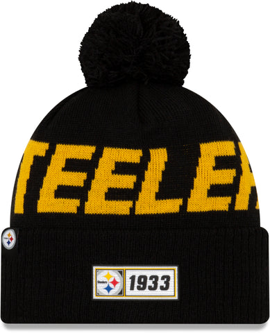 Pittsburgh Steelers New Era NFL On Field 2019 Sport Knit Road Bobble Hat