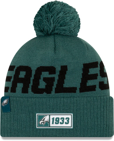 Philadelphia Eagles New Era NFL On Field 2019 Sport Knit Road Bobble Hat