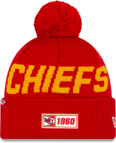 Kansas City Chiefs New Era NFL On Field 2019 Sport Knit Road Bobble Hat