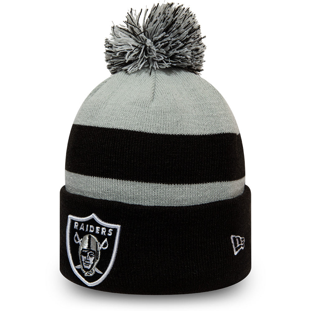 Raiders New Era NFL Striped Cuff Knit Bobble Hat - pumpheadgear, baseball caps