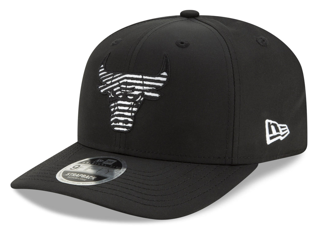 Chicago Bulls New Era 950 NBA Monotape PC Black Strapback Cap - pumpheadgear, baseball caps