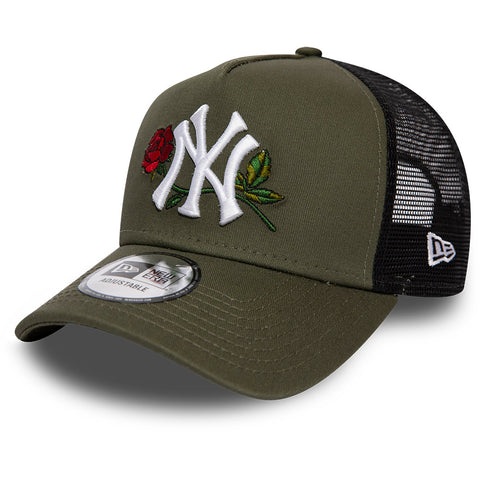 NY Yankees New Era Mens Twine MLB Olive Trucker Cap