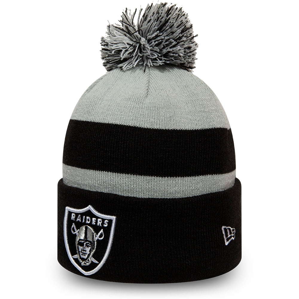 Raiders New Era NFL Striped Cuff Knit Kids Bobble Hat (Age 5 - 10 Years)