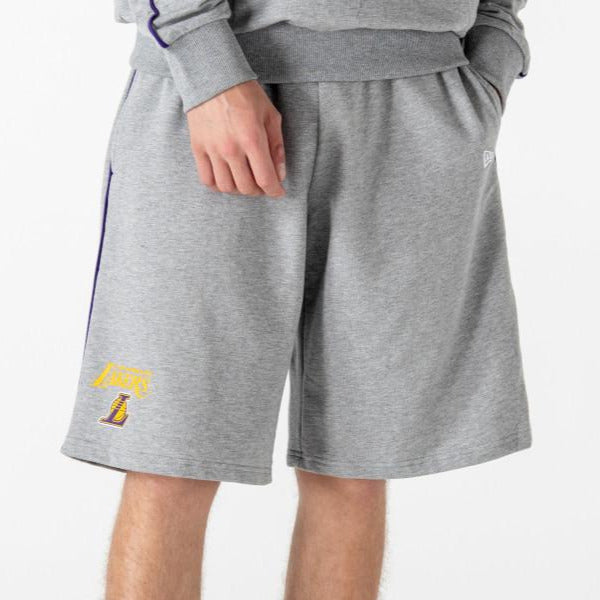 Los Angeles Lakers New Era NBA Team Piping Grey Shorts - pumpheadgear, baseball caps