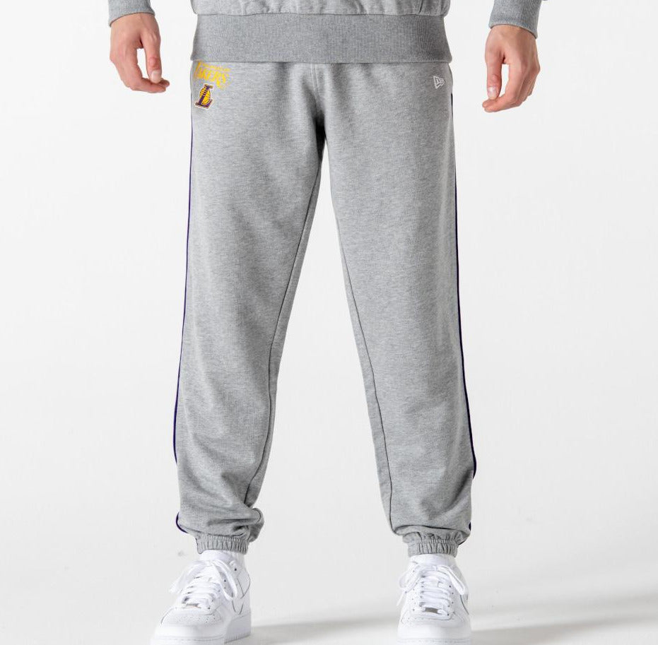 Los Angeles Lakers New Era NBA Team Piping Grey Joggers - pumpheadgear, baseball caps