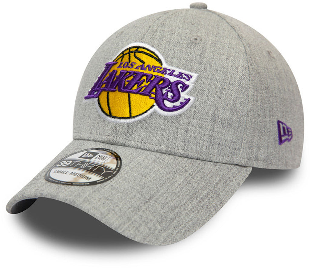 LA Lakers New Era 3930 Heather Grey Stretch Fit Cap - pumpheadgear, baseball caps