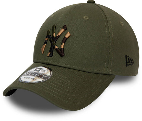 NY Yankees New Era 940 Camo Infill Olive Baseball Cap - pumpheadgear, baseball caps