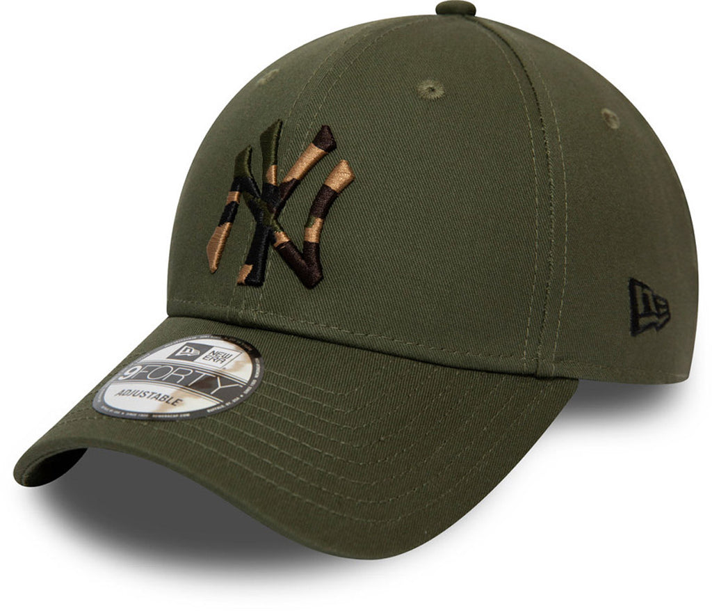 NY Yankees Kids New Era 940 Camo Infill Olive Baseball Cap (Ages 2 - 10 years) - pumpheadgear, baseball caps