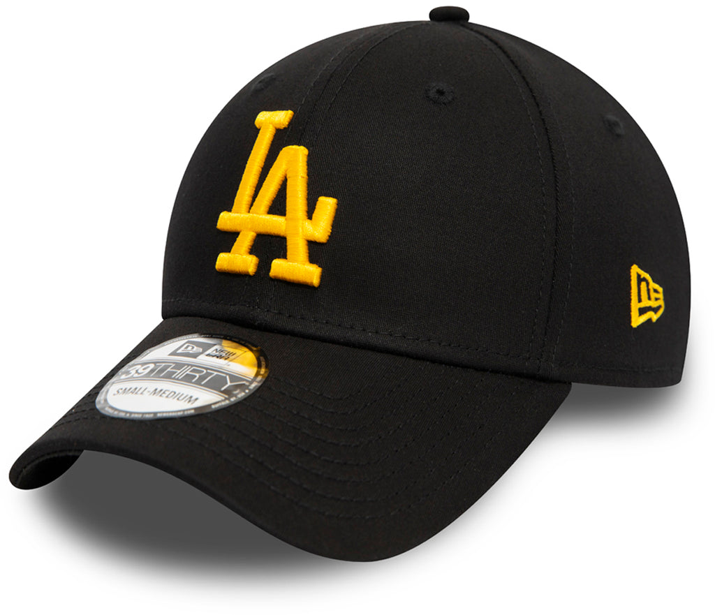 LA Dodgers New Era 3930 League Essential Stretch Fit Black Baseball Cap - pumpheadgear, baseball caps