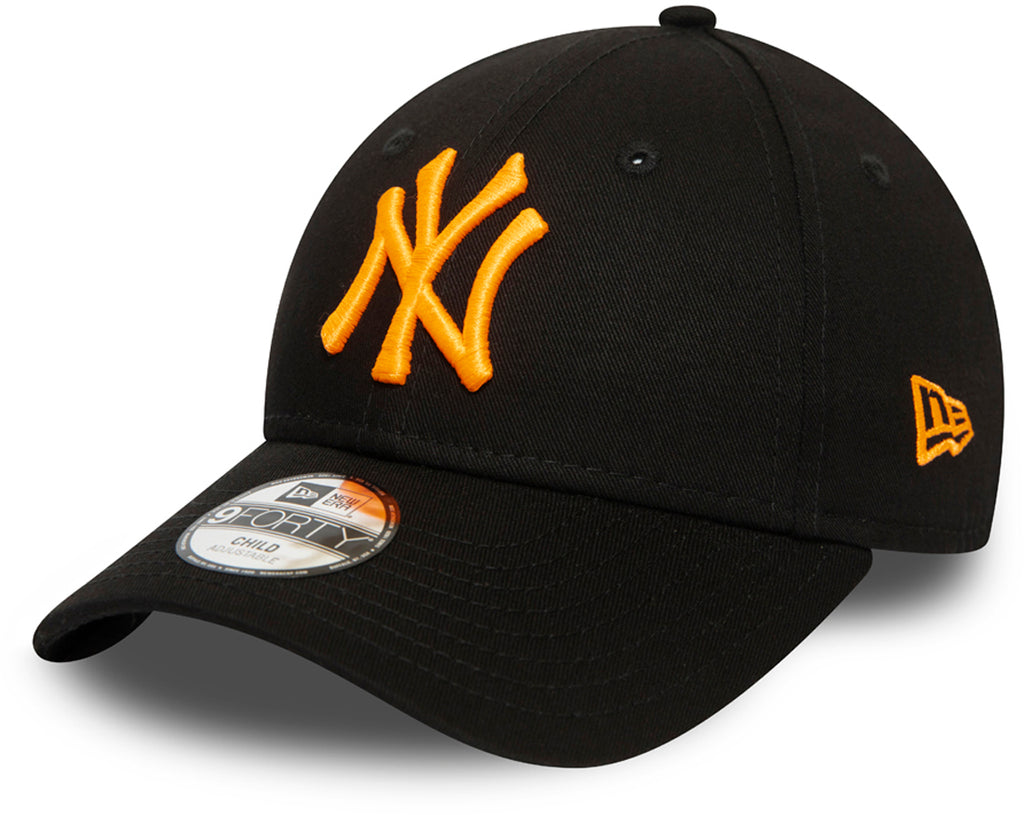 NY Yankees Kids New Era 940 Neon Black/Orange Baseball Cap (Ages 2 - 10 years)