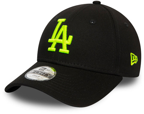 LA Dodgers Kids New Era 940 Neon Black/Yellow Baseball Cap (Ages 2 - 10 years) - pumpheadgear, baseball caps