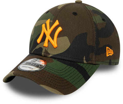 NY Yankees New Era 940 Woodland Camo Essential Baseball Cap - pumpheadgear, baseball caps