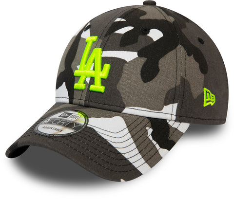 LA Dodgers New Era 940 Black/White Camo Essential Baseball Cap - pumpheadgear, baseball caps