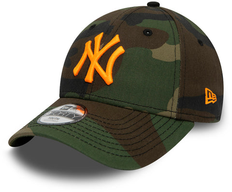 NY Yankees Kids New Era 940 Woodland Camo Essential Baseball Cap (Ages 2 - 10 years) - pumpheadgear, baseball caps
