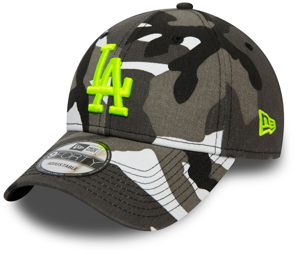 LA Dodgers Kids New Era 940 White/Black Camo Essential Baseball Cap (Ages 2 - 10 years) - pumpheadgear, baseball caps