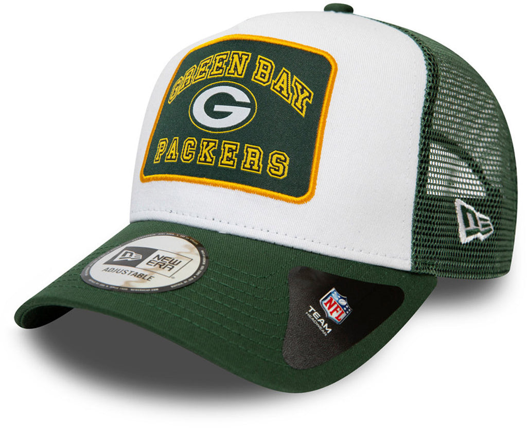 Green Bay Packers New Era Graphic Patch A-frame Trucker Cap