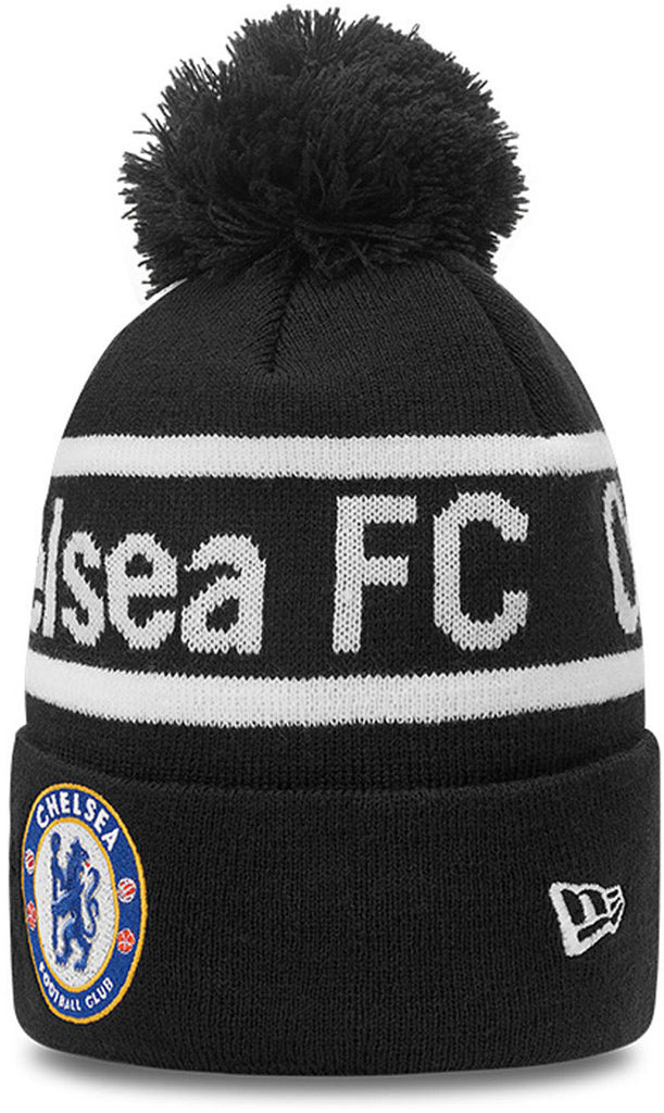 Chelsea FC New Era Wordmark Knit Black Bobble Hat
