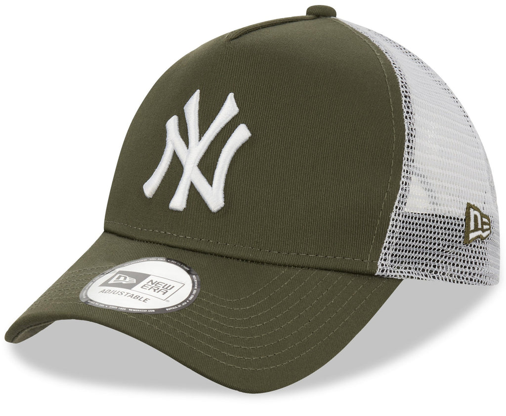NY Yankees New Era League Essential Olive A-Frame Trucker Cap