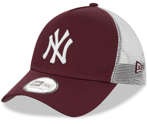 NY Yankees New Era League Essential Maroon A-Frame Trucker Cap