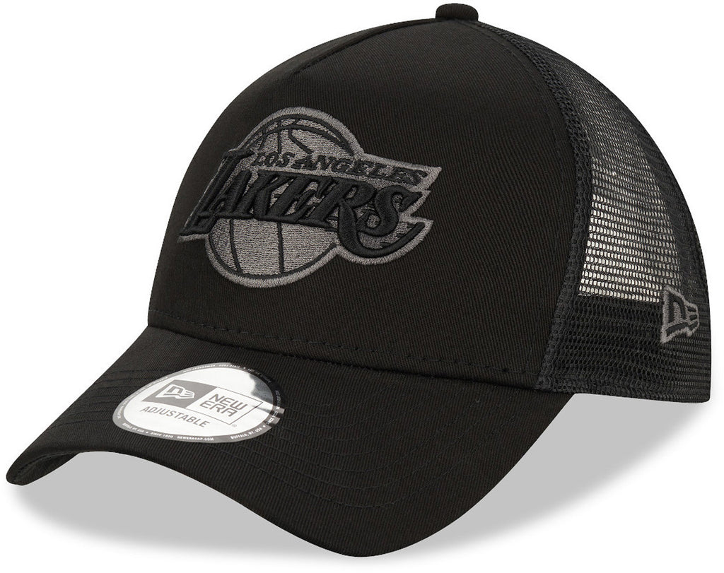 Los Angeles Lakers New Era NBA Team Black A-Frame Trucker Cap