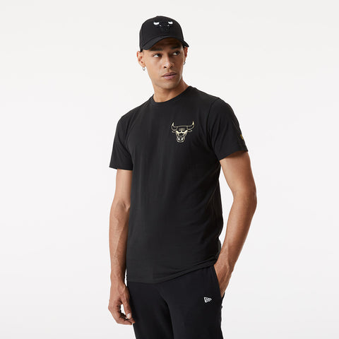 Chicago Bulls New Era NBA Metallic Logo Black T-Shirt
