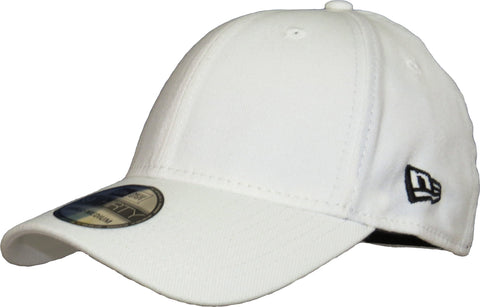 New Era 3930 Classic Curved Peak Stretch Fit Plain White Baseball Cap - pumpheadgear, baseball caps
