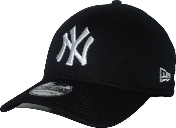 New Era 3930 League Basic NY Black White Stretch Fit Baseball Cap –  lovemycap 807d9009f0be