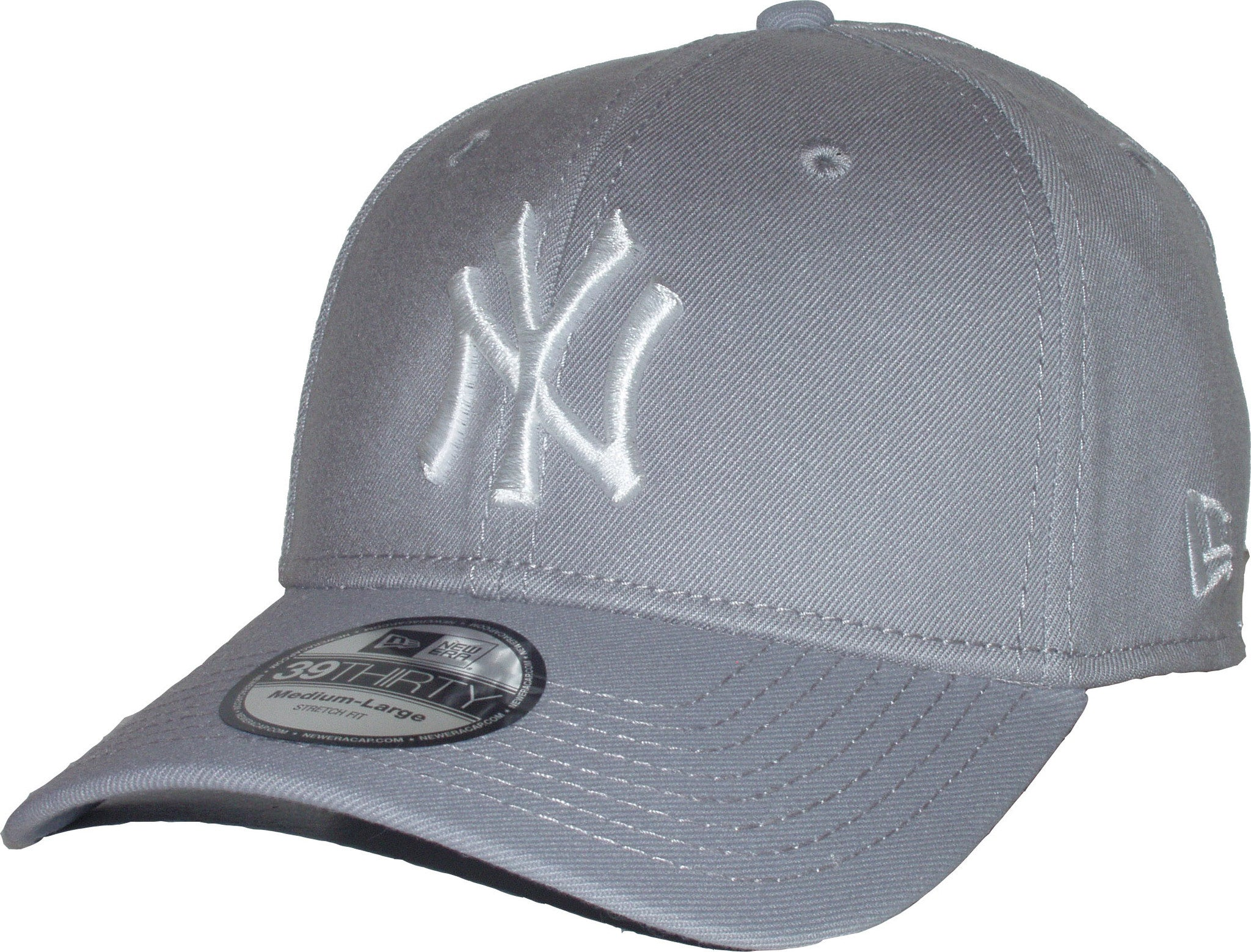 eba27fce7a7 New Era 3930 League Basic NY Yankees Stretch Fit Baseball Cap - Grey White  ...