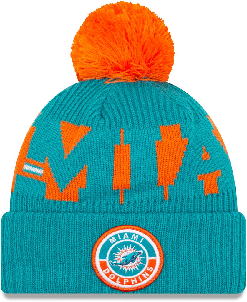 Miami Dolphins New Era NFL On Field 2020 Sport Knit Bobble Hat