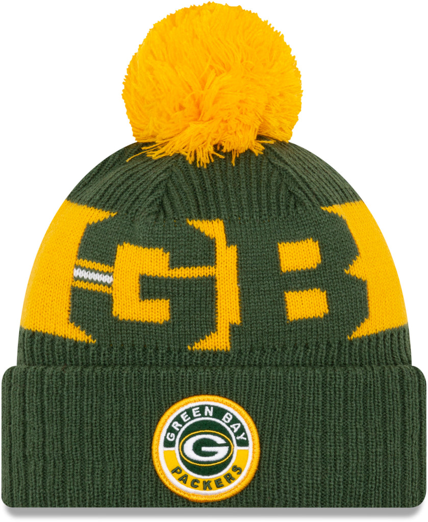 Green Bay Packers New Era NFL On Field 2020 Sport Knit Bobble Hat