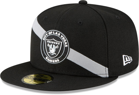 Las Vegas Raiders New Era 5950 Team Stripe Black Fitted Cap