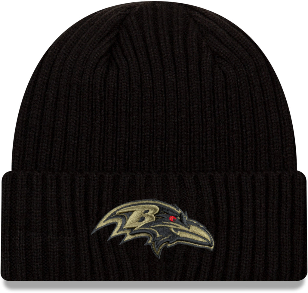 Baltimore Ravens New Era NFL 2020 Salute To Service Black Knit Beanie