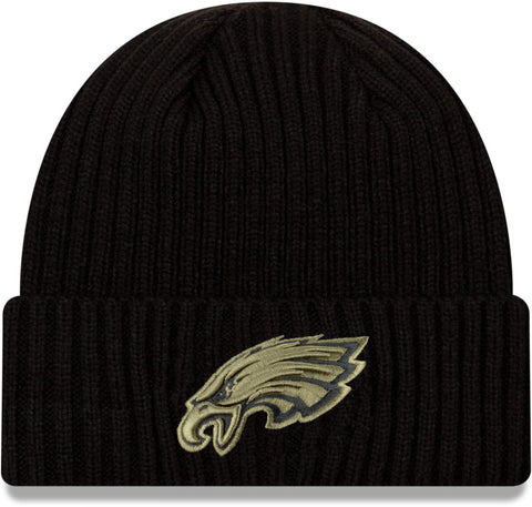 Philadelphia Eagles New Era NFL 2020 Salute To Service Black Knit Beanie