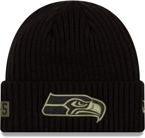 Seattle Seahawks New Era NFL 2020 Salute To Service Black Knit Beanie