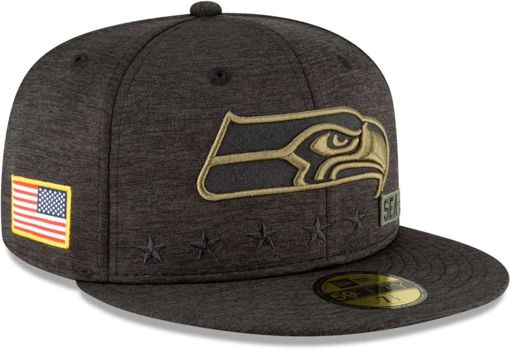 Seattle Seahawks New Era 5950 NFL 2020 Salute To Service Fitted Cap
