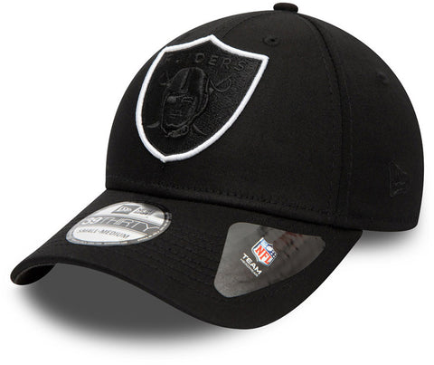 Las Vegas Raiders New Era 3930 NFL Tonal Black Stretch Fit Cap