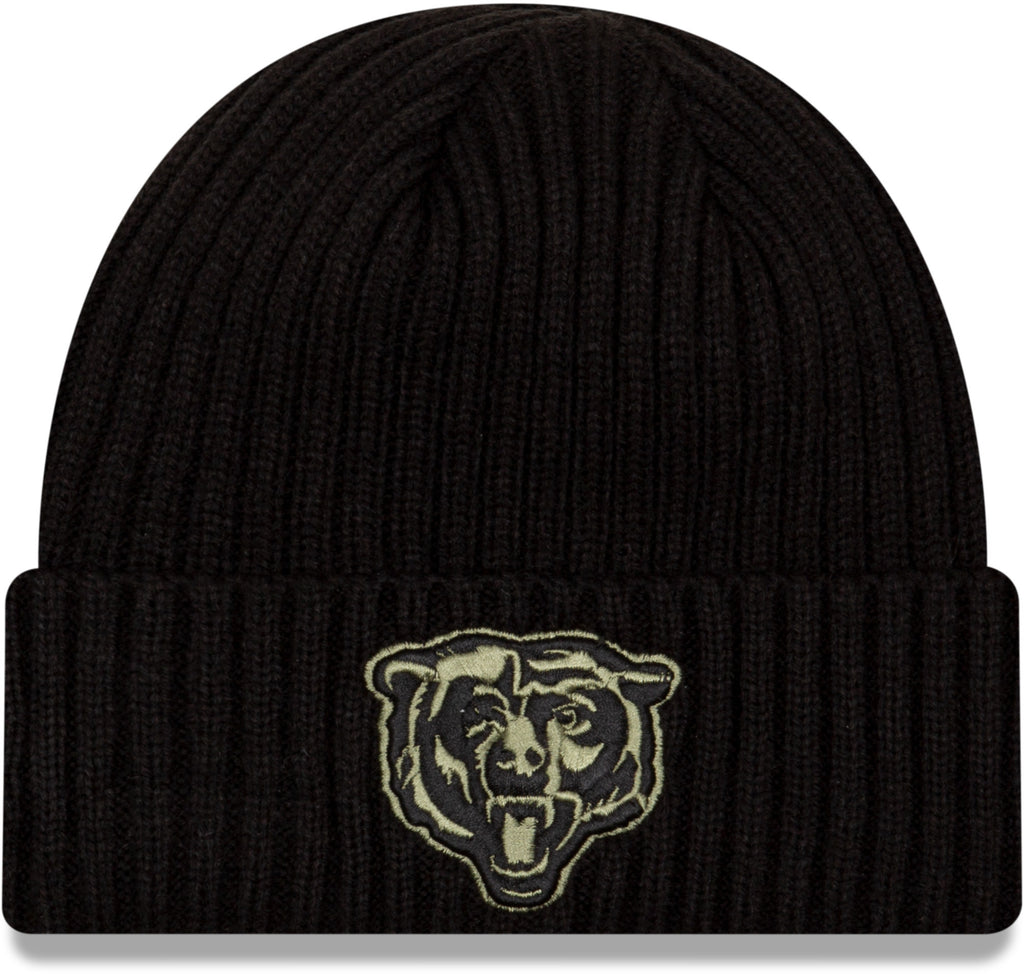 Chicago Bears B New Era NFL 2020 Salute To Service Black Knit Beanie