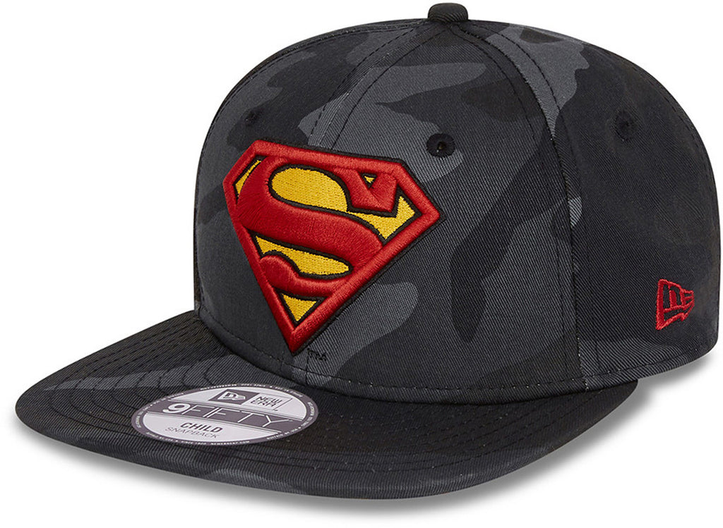 Superman New Era 950 Kids Midnight Camo Snapback Cap (Age 4 -12 years)