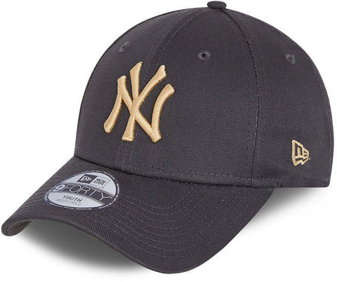 NY Yankees Kids New Era 940 League Essential Grey Baseball Cap (Ages 6 - 12)